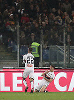 Football, Serie A: AS Roma - Genoa, Olympic stadium, Rome, December 16, 2018. <br /> Genoa's Krystof Piatek (r) celebrates after scoring with his teammate Darko Lazovic (l) during the Italian Serie A football match between Roma and Genoa at Rome's Olympic stadium, on December 16, 2018.<br /> UPDATE IMAGES PRESS/Isabella Bonotto
