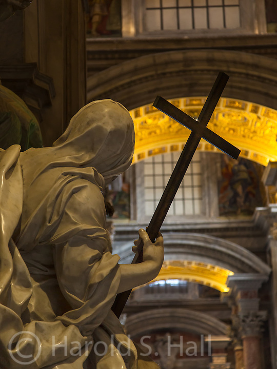 This carved marble statue inside St. Peters Cathedral in Rome appeared to me to be searching, and looking toward the light.