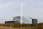 Newly completed in late 2014 energy from waste electricity generation power station, Great Blakenham, Suffolk, England, UK