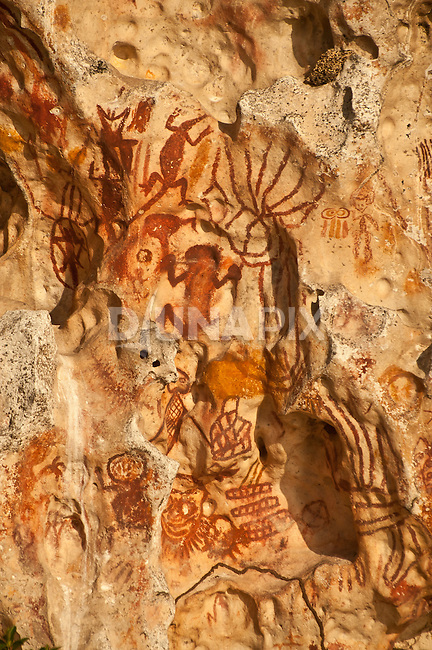 Prehistoric rock art on a cliff face near Mai Mai village, Namatota Strait, near Kaimana, Papua. Reptile and human forms are represented.