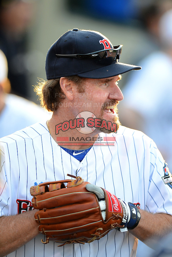 Hall of Fame third baseman Wade Boggs #12 in the dugout during the MLB Pepsi Max Field of Dreams game on May 18, 2013 at Frontier Field in Rochester, New York.  (Mike Janes/Four Seam Images)