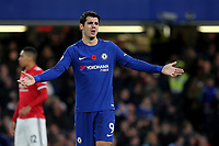 Alvaro Morata of Chelsea looks at the assistant referee after his goal was disallowed during Chelsea vs Manchester United, Premier League Football at Stamford Bridge on 5th November 2017