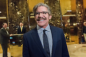 Reporter and talk show host Geraldo Rivera is seen speaking with the press in the lobby of Trump Tower in New York, NY, USA on January 13, 2017.  Credit: Albin Lohr-Jones / Pool via CNP
