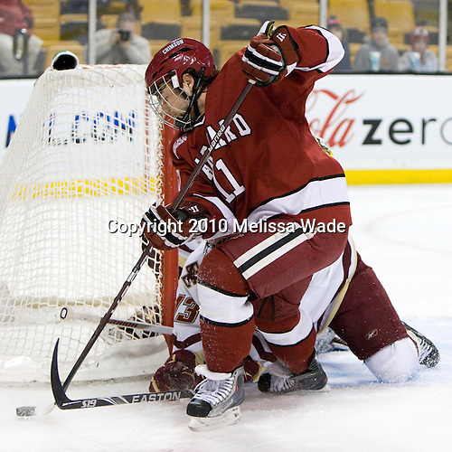 Daniel Moriarty (Harvard - 11) - The Boston College Eagles defeated the Harvard University Crimson 6-0 on Monday, February 1, 2010, in the first round of the 2010 Beanpot at the TD Garden in Boston, Massachusetts.