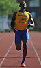 Malcolm Livingston of Roosevelt egs out a victory in the boys' 400 meter race during the Nassau County AA track & field championship at MacArthur High School on Wednesday, May 23, 2018.