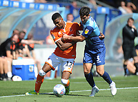 Blackpool's Michael Nottingham under pressure from Wycombe Wanderers' Joe Jacobson<br /> <br /> Photographer Kevin Barnes/CameraSport<br /> <br /> The EFL Sky Bet League One - Wycombe Wanderers v Blackpool - Saturday 4th August 2018 - Adams Park - Wycombe<br /> <br /> World Copyright &copy; 2018 CameraSport. All rights reserved. 43 Linden Ave. Countesthorpe. Leicester. England. LE8 5PG - Tel: +44 (0) 116 277 4147 - admin@camerasport.com - www.camerasport.com