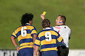 Haani Hala'eua is given a yellow card by Nigel Bradley. McNamara Cup final - Premier 1 Championship, Patumahoe v Ardmore Marist. Patumahoe won 13 - 6. Counties Manukau club rugby finals played at Growers Stadium, Pukekohe, 24th of June 2006.