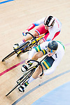 Matthew Glaetzer of the Australia team and Pavel Yakushevskiy of the Russia team compete in the Men's Sprint - 1/8 Finals as part of the Men's Sprint - 1/8 Finals as part of the 2017 UCI Track Cycling World Championships on 14 April 2017, in Hong Kong Velodrome, Hong Kong, China. Photo by Chris Wong / Power Sport Images