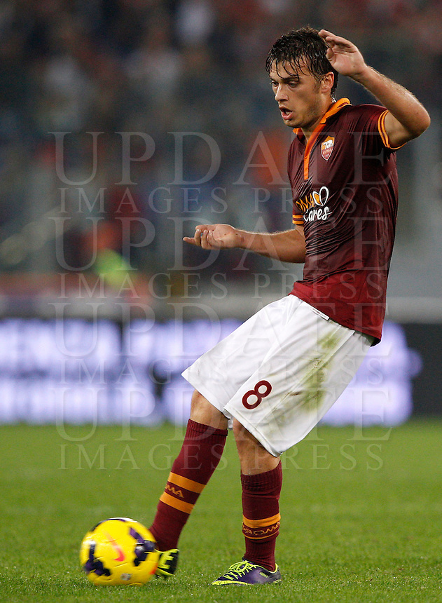 Calcio, Serie A: Roma vs ChievoVerona. Roma, stadio Olimpico, 31 ottobre 2013.<br /> AS Roma forward Adem Ljajic, of Serbia, in action during the Italian Serie A football match between AS Roma and ChievoVerona at Rome's Olympic stadium, 31 October 2013.<br /> UPDATE IMAGES PRESS/Riccardo De Luca
