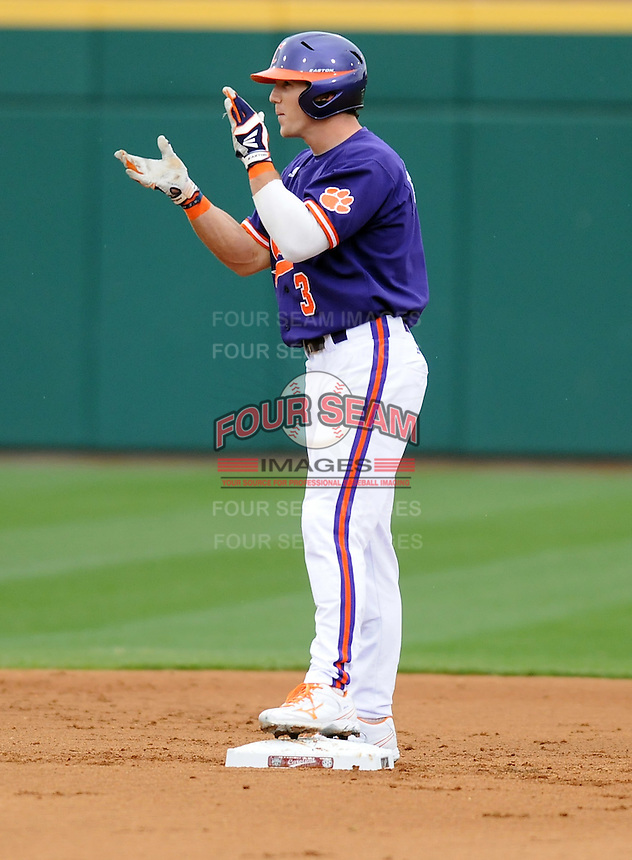 Outfielder Brad Felder (3) of the Clemson Tigers in a game against the South Carolina Gamecocks on March 3, 2012, at Carolina Stadium in Columbia, South Carolina. Carolina won, 9-6. (Tom Priddy/Four Seam Images)