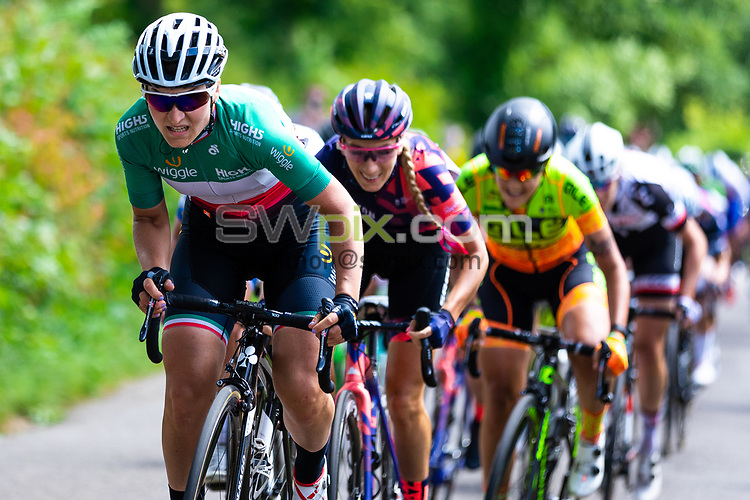 Picture by Alex Whitehead/SWpix.com - 14/06/2018 - Cycling - 2018 OVO Energy Women's Tour - Stage 2, Rushden to Daventry - Elisa Longo Borghini of Wiggle High5 leads the riders up Newnham Hill.