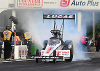 May 15, 2015; Commerce, GA, USA; NHRA top fuel driver Richie Crampton during qualifying for the Southern Nationals at Atlanta Dragway. Mandatory Credit: Mark J. Rebilas-USA TODAY Sports