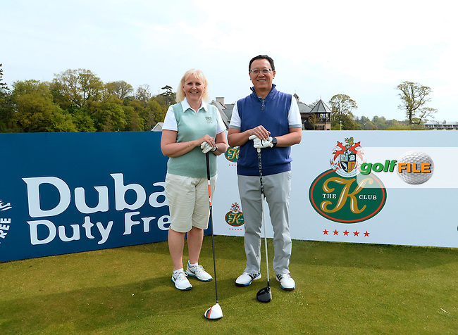 9 May 2016;  Pauline Bailie and Louis Lau, from Belvoir Park Golf Club. Dubai Duty Free Irish Open - All-Ireland Final for Pro-Am Qualifying Competition. The K Club Smurfit Course, Straffan, Co. Kildare, Ireland. <br /> Picture: Golffile   Caroline Quinn<br /> <br /> All photo usage must carry mandatory copyright credit (&copy; Golffile   Caroline Quinn)