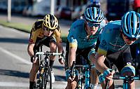 The leading trio attacking the last 2 climbs of the day:<br /> Jakob Fuglsang (DEN/Astana), Aleksandr Vlasov (RUS/Astana) & George Bennett (NZL/Jumbo Visma)<br /> <br /> 114th Il Lombardia 2020 (1.UWT)<br /> 1 day race from Bergamo to Como (ITA/231km) <br /> <br /> ©kramon