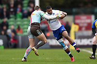 Aled Brew of Bath Rugby takes on the Harlequins defence. Aviva Premiership match, between Harlequins and Bath Rugby on March 2, 2018 at the Twickenham Stoop in London, England. Photo by: Patrick Khachfe / Onside Images