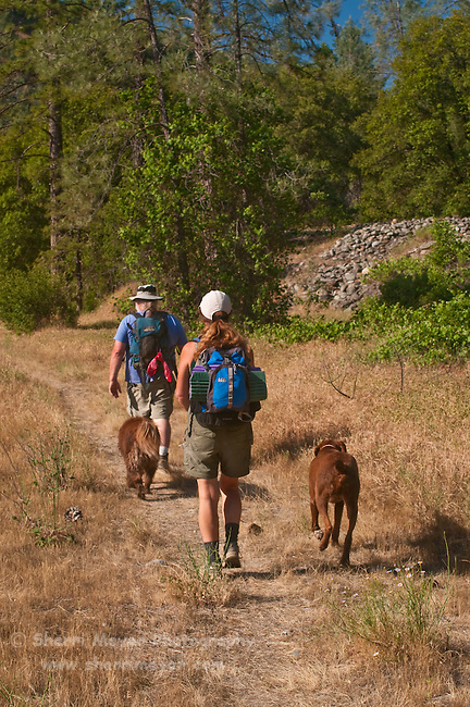 Couple hiking with their dogs along the North Fork of the American River, Weimar, California.