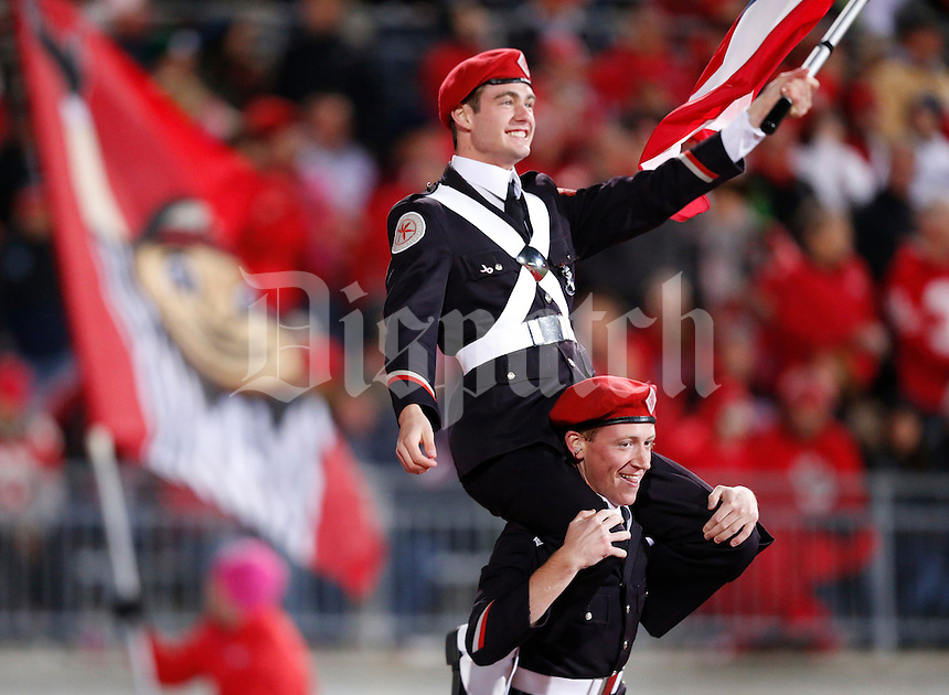 Ohio State University marching band members celebrate a touchdown during Saturday's NCAA Division I football game against Penn State at Ohio Stadium on October 26, 2013. Ohio State won the game 63-14. (Barbara J. Perenic/The Columbus Dispatch)