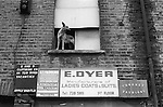 Sweatshop sign board and dog. Whitechapel, near Brick lane, East London England 1974