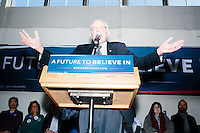 Vermont senator and Democratic presidential candidate Bernie Sanders speaks to senior citizens at the Peterborough Community Center gymnasium in Peterborough, New Hampshire.