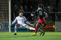 Goalkeeper Scott Brown of Wycombe Wanderers in action as a shot goes wide during the The Checkatrade Trophy Southern Group D match between Wycombe Wanderers and Coventry City at Adams Park, High Wycombe, England on 9 November 2016. Photo by Andy Rowland.
