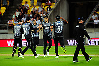 NZ's Trent Boult celebrates dismissing Liam Plunkett for a duck during the International Twenty20 cricket match between the NZ Black Caps and England at Westpac Stadium in Wellington, New Zealand on Tuesday, 13 February 2018. Photo: Dave Lintott / lintottphoto.co.nz