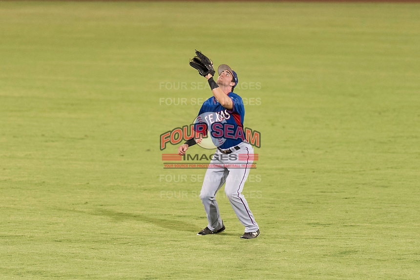 AZL Rangers center fielder Ryan Anderson (6) prepares to catch a fly ball during an Arizona League playoff game against the AZL Indians 1 at Goodyear Ballpark on August 28, 2018 in Goodyear, Arizona. The AZL Rangers defeated the AZL Indians 1 7-4. (Zachary Lucy/Four Seam Images)