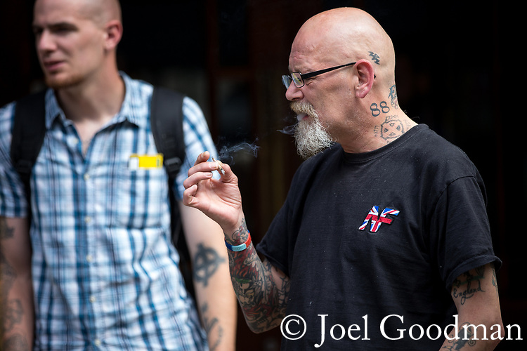 "© Joel Goodman - 07973 332324 . 22/08/2015 . Manchester , UK . Far-right nationalist group , "" North West Infidels "" and Islamophobic , anti-Semitic and white supremacist supporters , hold a rally in Manchester City Centre . Photo credit : Joel Goodman"