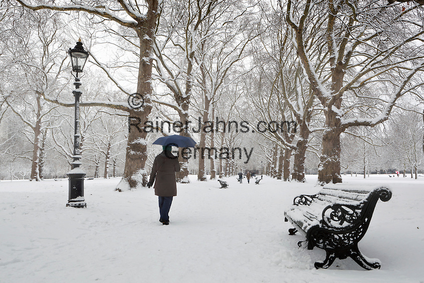 Great Britain, England, London: Snow in Green Park   Grossbritannien, England, London: der Green Park im Winter