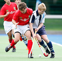 Will Naylor (R) of Hampstead is challenged by Matthew Botha during the England Hockey League Mens Premier Division game between Hampstead & Westminster against Canterbury at The Paddington Recreation Ground, Maida Vale on Sat Sept 25, 2010