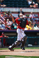 Erie Seawolves catcher Grayson Greiner (51) gets under a popup during a game against the Altoona Curve on July 10, 2016 at Jerry Uht Park in Erie, Pennsylvania.  Altoona defeated Erie 7-3.  (Mike Janes/Four Seam Images)