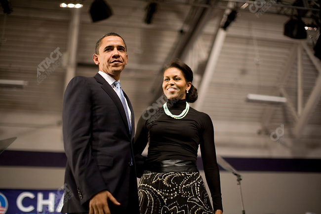 Senator Barack Obama and wife Michelle at a rally on Primary night in Nashua, New Hampshire, January 8, 2008.