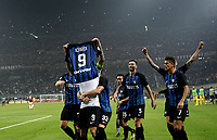 Calcio, Serie A: Milano, stadio Giuseppe Meazza, 15 ottobre 2017.<br /> Inter's Mauro Icardi captain celebrates with his teammates  after scoring his third goal during the Italian Serie A football match between Inter and Milan at Giuseppe Meazza (San Siro) stadium, October15, 2017.<br /> UPDATE IMAGES PRESS/Isabella Bonotto
