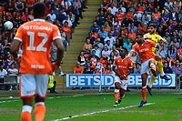 Fleetwood Town's Ched Evans scores his side's first goal  <br /> <br /> Photographer Richard Martin-Roberts/CameraSport<br /> <br /> The EFL Sky Bet League One - Blackpool v Fleetwood Town - Monday 22nd April 2019 - Bloomfield Road - Blackpool<br /> <br /> World Copyright © 2019 CameraSport. All rights reserved. 43 Linden Ave. Countesthorpe. Leicester. England. LE8 5PG - Tel: +44 (0) 116 277 4147 - admin@camerasport.com - www.camerasport.com
