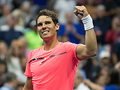 6th September 2017, Flushing Meadowns, New York, USA;  Rafael Nadal (ESP) celebrates winning his quarter-final match at the US Open, played at the USTA Billie Jean King National Tennis Center, Flushing, NY