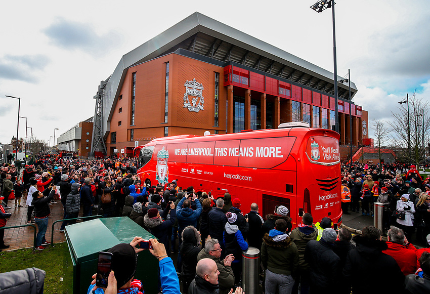 The Liverpool coach arrives at Anfield<br /> <br /> Photographer Alex Dodd/CameraSport<br /> <br /> The Premier League - Liverpool v Burnley - Sunday 10th March 2019 - Anfield - Liverpool<br /> <br /> World Copyright © 2019 CameraSport. All rights reserved. 43 Linden Ave. Countesthorpe. Leicester. England. LE8 5PG - Tel: +44 (0) 116 277 4147 - admin@camerasport.com - www.camerasport.com