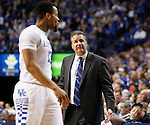 UK Head Coach John Calipari yells at UK guard Isaiah Briscoe (13) during the UK Men's Basketball vs. Florida Gators game at Rupp Arena. Saturday, February 6, 2016 in Lexington, Ky. UK defeated Florida 80 - 61