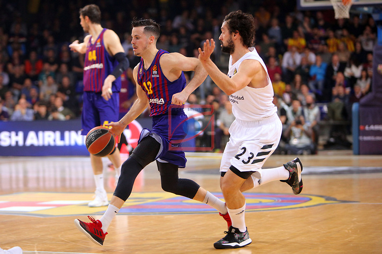 Turkish Airlines Euroleague 2018/2019. <br /> Regular Season-Round 24.<br /> FC Barcelona Lassa vs R. Madrid: 77-70. <br /> Thomas Heurtel vs Sergio Llull.