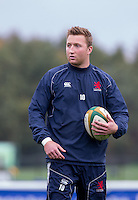 Oli Grove of London Scottish during the Greene King IPA Championship match between London Scottish Football Club and Jersey at Richmond Athletic Ground, Richmond, United Kingdom on 7 November 2015. Photo by Andy Rowland.