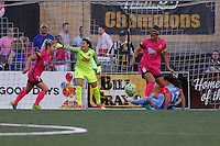 Rochester, NY - Saturday Aug. 27, 2016: McCall Zerboni, Sabrina D'Angelo, Abby Erceg, Andressa Machry during a regular season National Women's Soccer League (NWSL) match between the Western New York Flash and the Houston Dash at Rochester Rhinos Stadium.