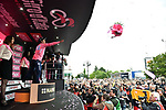 Race leader Richard Carapaz (ECU) Movistar Team retains the Maglia Rosa at the end of Stage 18 of the 2019 Giro d'Italia, running 222km from Valdaora-Olang to Santa Maria di Sala, Italy. 30th May 2019<br /> Picture: Massimo Paolone/LaPresse | Cyclefile<br /> <br /> All photos usage must carry mandatory copyright credit (© Cyclefile | Massimo Paolone/LaPresse)
