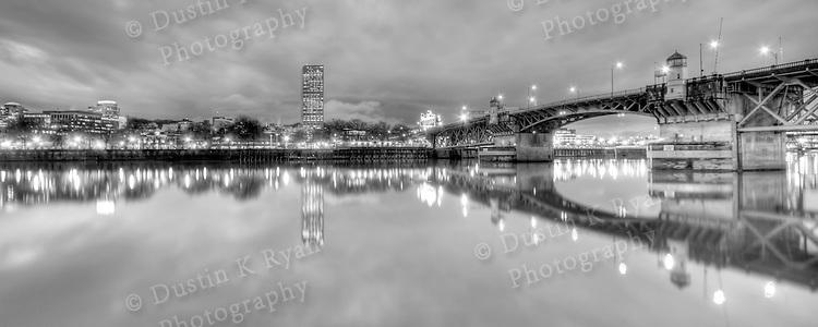 Burnside Bridge Downtown Portland Oregon at night Black and White