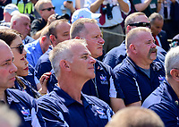 First responders look on as United States President Donald J. Trump makes remarks prior to signing H.R. 1327, an act to permanently authorize the September 11th victim compensation fund, in the Rose Garden of the White House in Washington, DC on Monday, July 29, 2019. <br /> Credit: Ron Sachs / Pool via CNP/AdMedia