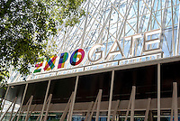 Milano, Expo Gate, padiglione infopoint in largo Cairoli per l'Esposizione Universale 2015 --- Milan, Expo Gate, info point in Cairoli square for the World Exposition 2015