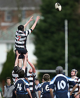Saturday 3rd March 2012; Sam Moore takes this lineout ball during the Medallion Shield semi-final between Wallace High School and Dromore High School at Osborne Park, Belfast. <br /> Picture credit: John Dickson / DICKSONDIGITAL