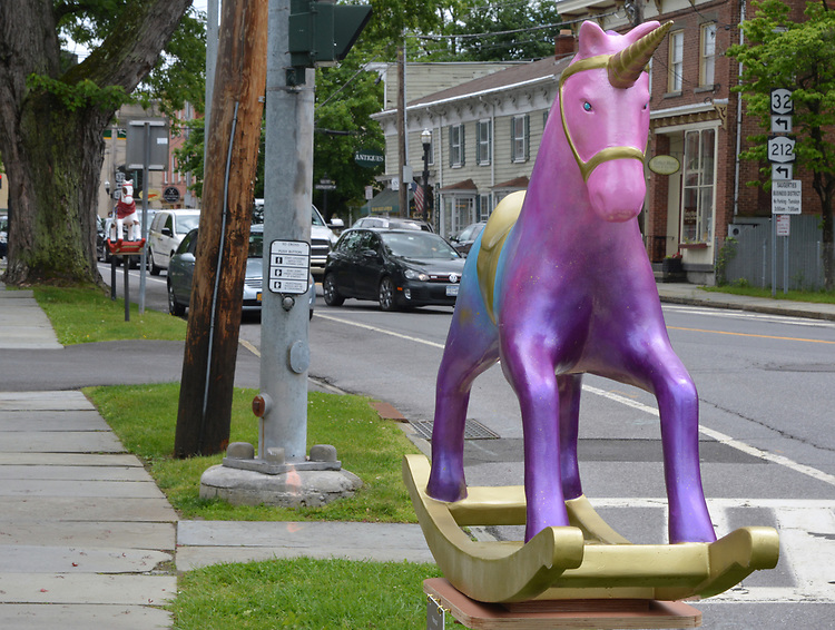 "A view of, ""Aurora"" by artist, Tara Bach, one of the 35 Artist painted Rocking Horses on display around Saugerties, NY as part of the Chamber of Commerce sponsored Art in the Village Project titled ""Rockin' Around Saugerties."" This photo taken on Friday, May 26, 2017. Photo by Jim Peppler. Copyright/Jim Peppler-2017."