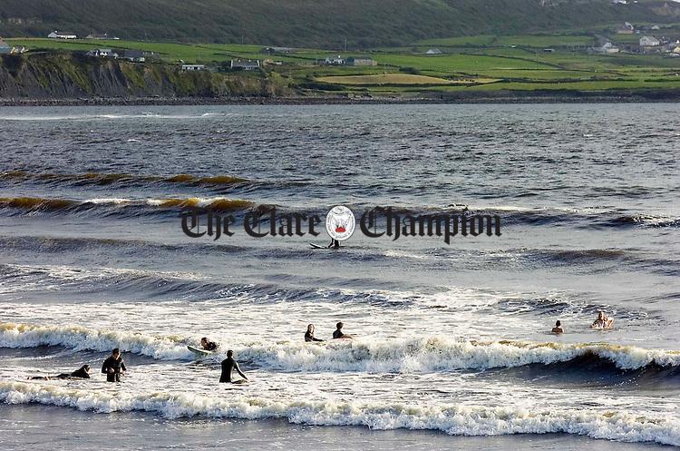 Sunset surfing on lahinch Beach.Pic Arthur Ellis.