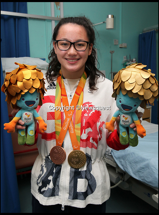 BNPS.co.uk (01202 558833)<br /> Pic: ChrisMoorhouse/Newsquest<br /> <br /> Alice Tai visiting Southampton General Hospital after her gold medal success at the 2016 Olympics.<br /> <br /> A Paralympic gold medalist was banned from competing in the final of a regular swimming race because of her disability.<br /> <br /> Alice Tai was 'disgusted' with the ruling after she had sailed through the heats of the Middlesex County Championships against able-bodied swimmers.<br /> <br /> But she was prevented from taking her rightful place in the finals of the 50m and 100m backstroke because she wasn't eligible.