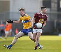 26th January 2020; TEG Cusack Park, Mullingar, Westmeath, Ireland; Allianz Football Division 2 Gaelic Football, Westmeath versus Clare; Ronan O'Toole (Westmeath) gets away from Eoin Cleary (Clare)
