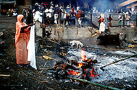 Manikarnika ghat the most auspicious burning ghats for Hindus. Varanasi, Uttar Pradesh, India.