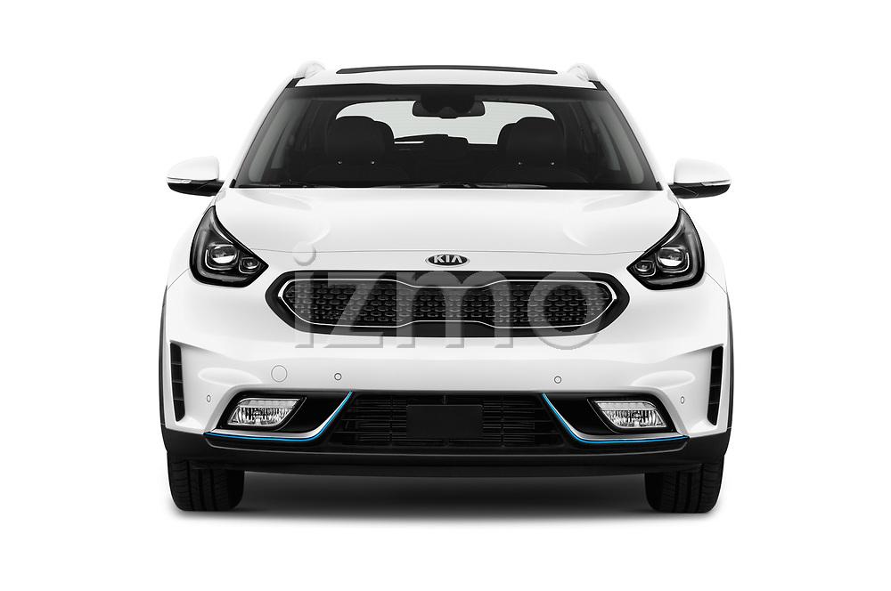 Car photography straight front view of a 2018 KIA Niro Plug-in Hybrid Sense 5 Door SUV